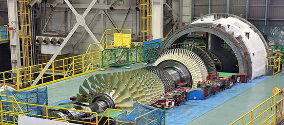 MHPS M501JAC gas turbine being manufactured at Takasago Works in Hyogo Prefecture, Japan.